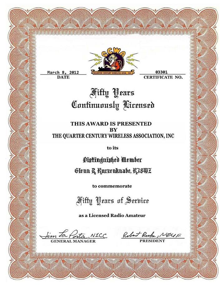... an Amateur Radio license over a period of 50 years. Application Award