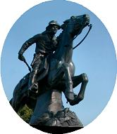Pony Express Statue in St Joseph, Missouri
