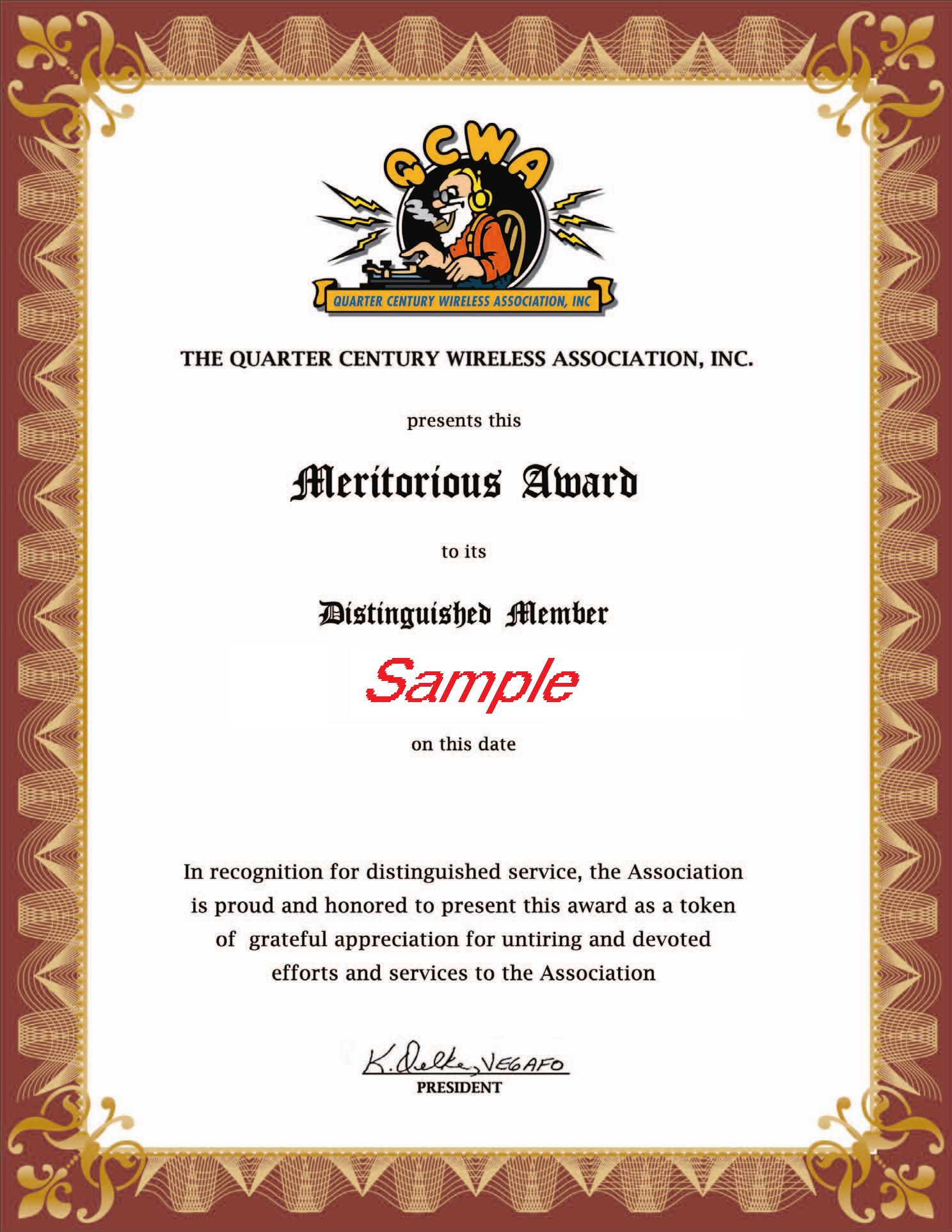 Qcwa awards meritorious award certificate yelopaper Gallery